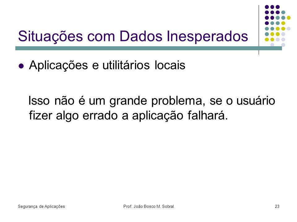 Segurança de AplicaçõesProf. João Bosco M. Sobral23 Situações com Dados Inesperados Aplicações e utilitários locais Isso não é um grande problema, se