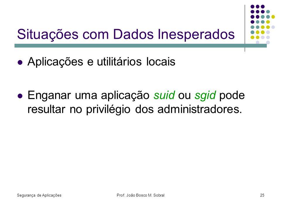 Segurança de AplicaçõesProf. João Bosco M. Sobral25 Situações com Dados Inesperados Aplicações e utilitários locais Enganar uma aplicação suid ou sgid
