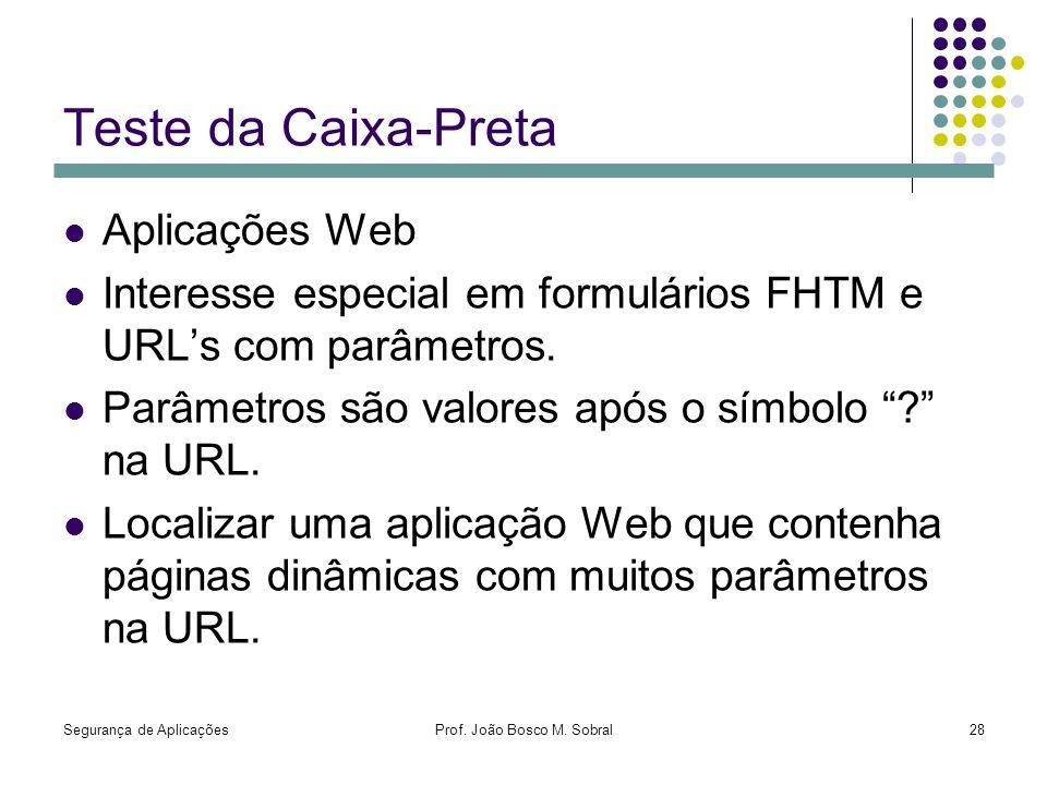 Segurança de AplicaçõesProf. João Bosco M. Sobral28 Teste da Caixa-Preta Aplicações Web Interesse especial em formulários FHTM e URLs com parâmetros.