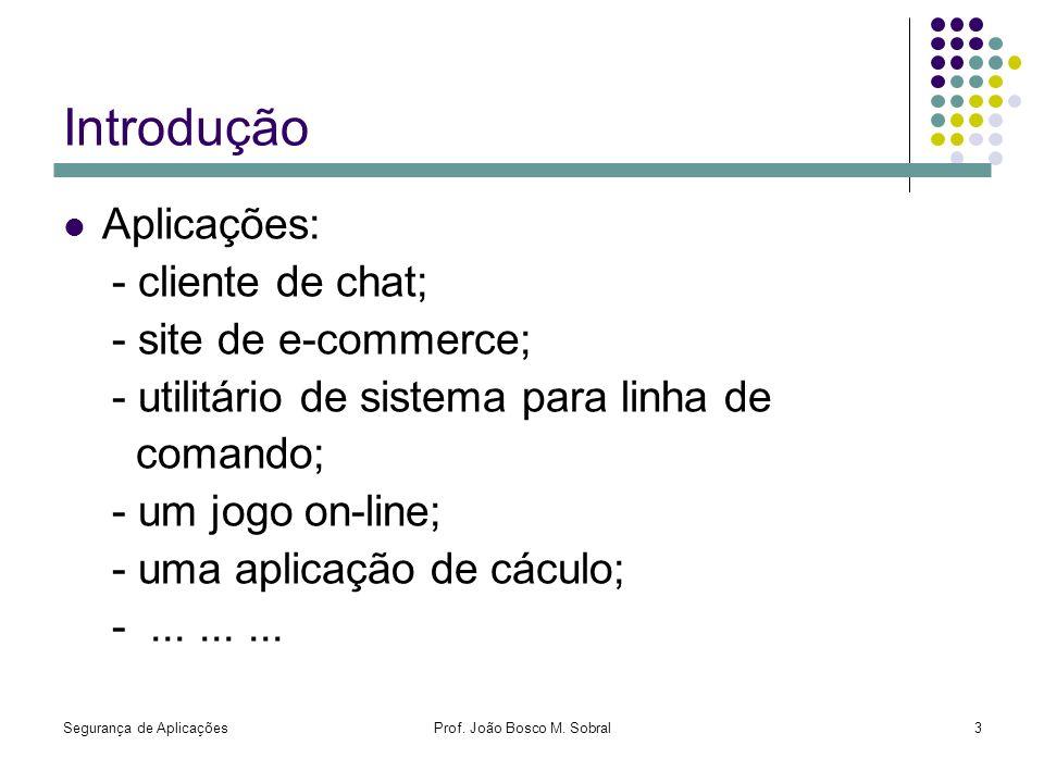 Segurança de AplicaçõesProf. João Bosco M. Sobral3 Introdução Aplicações: - cliente de chat; - site de e-commerce; - utilitário de sistema para linha