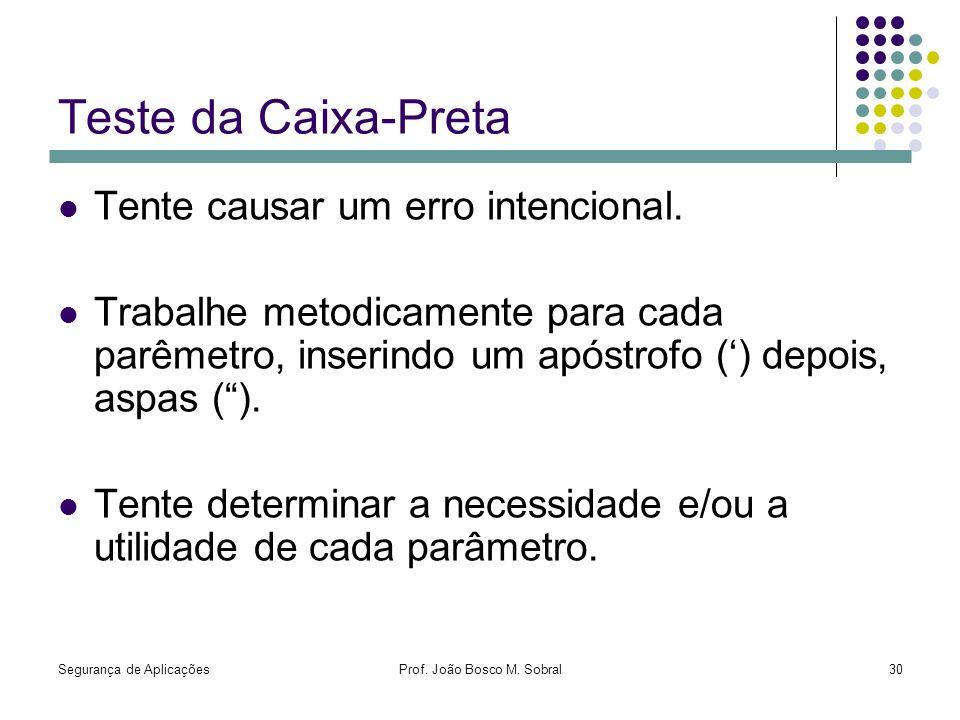 Segurança de AplicaçõesProf. João Bosco M. Sobral30 Teste da Caixa-Preta Tente causar um erro intencional. Trabalhe metodicamente para cada parêmetro,