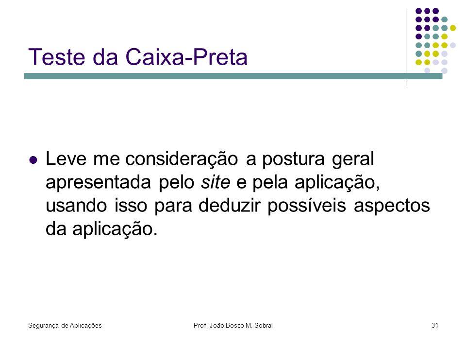 Segurança de AplicaçõesProf. João Bosco M. Sobral31 Teste da Caixa-Preta Leve me consideração a postura geral apresentada pelo site e pela aplicação,