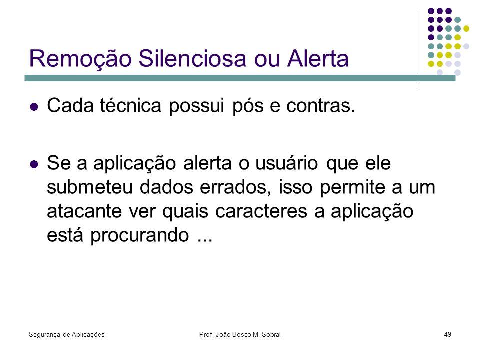 Segurança de AplicaçõesProf. João Bosco M. Sobral49 Remoção Silenciosa ou Alerta Cada técnica possui pós e contras. Se a aplicação alerta o usuário qu