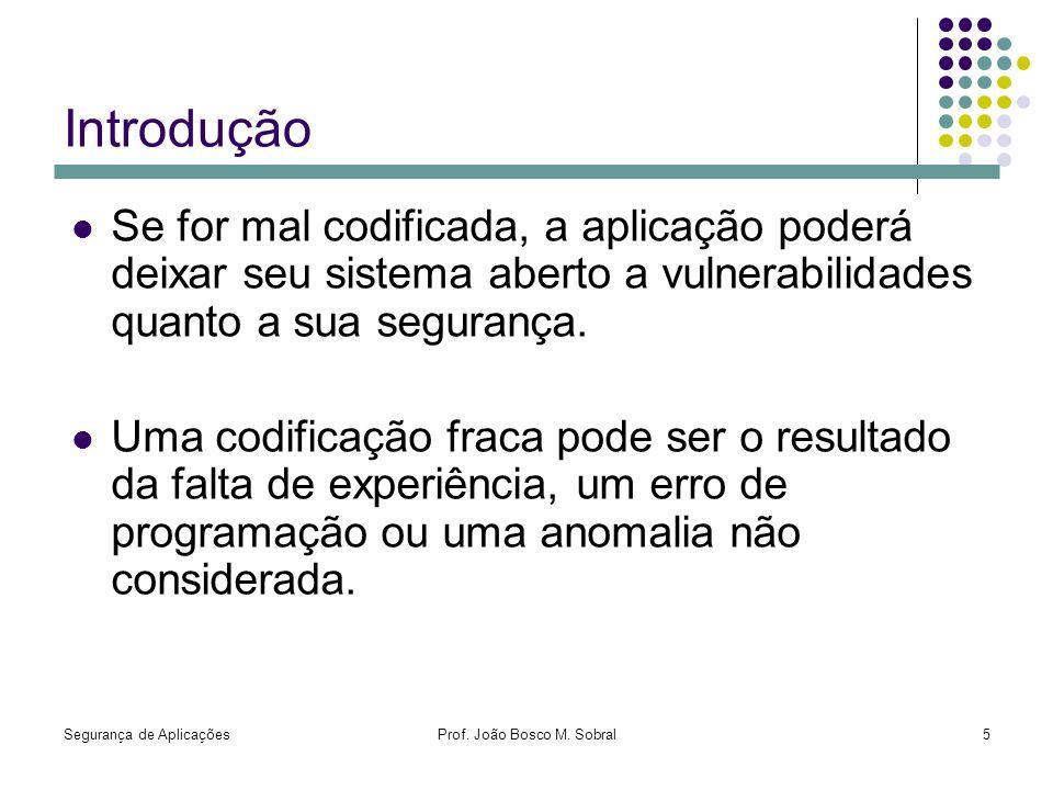 Segurança de AplicaçõesProf. João Bosco M. Sobral5 Introdução Se for mal codificada, a aplicação poderá deixar seu sistema aberto a vulnerabilidades q