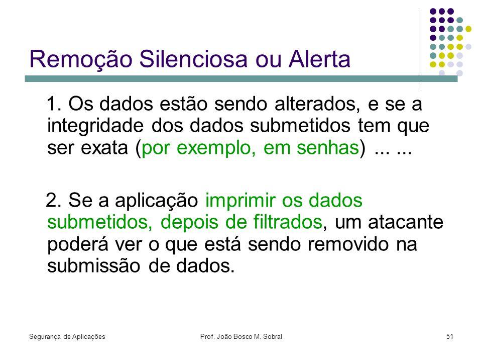 Segurança de AplicaçõesProf. João Bosco M. Sobral51 Remoção Silenciosa ou Alerta 1. Os dados estão sendo alterados, e se a integridade dos dados subme