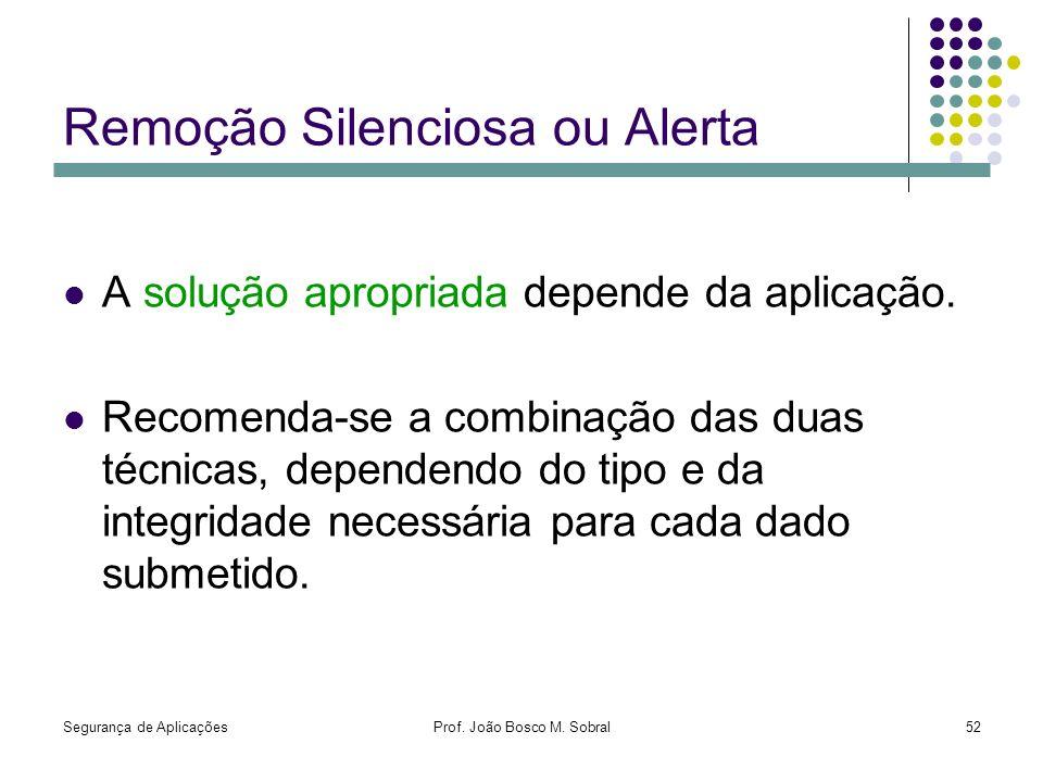 Segurança de AplicaçõesProf. João Bosco M. Sobral52 Remoção Silenciosa ou Alerta A solução apropriada depende da aplicação. Recomenda-se a combinação