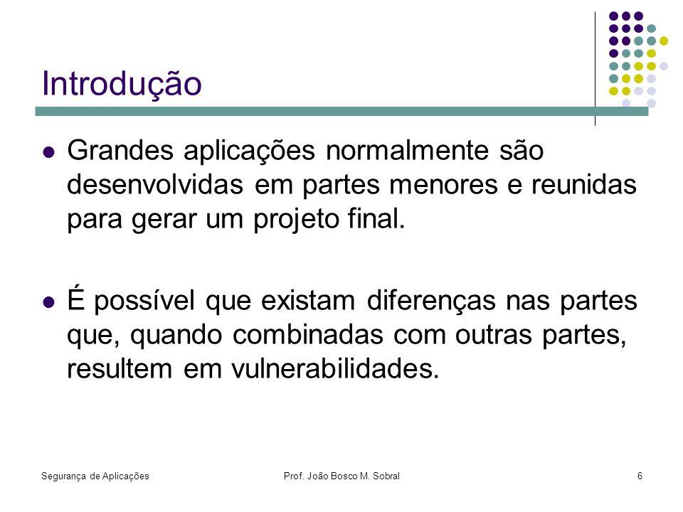 Segurança de AplicaçõesProf. João Bosco M. Sobral6 Introdução Grandes aplicações normalmente são desenvolvidas em partes menores e reunidas para gerar