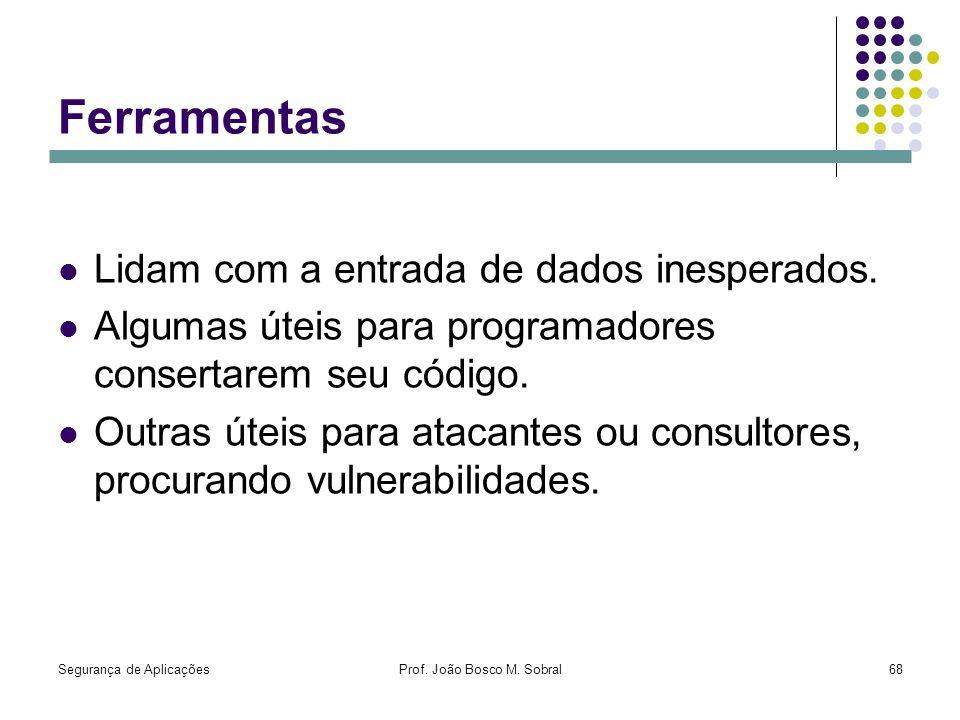 Segurança de AplicaçõesProf. João Bosco M. Sobral68 Ferramentas Lidam com a entrada de dados inesperados. Algumas úteis para programadores consertarem