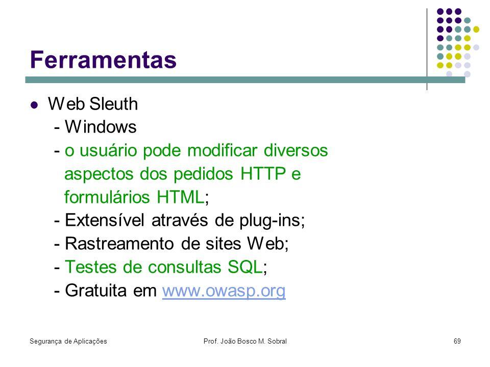 Segurança de AplicaçõesProf. João Bosco M. Sobral69 Ferramentas Web Sleuth - Windows - o usuário pode modificar diversos aspectos dos pedidos HTTP e f