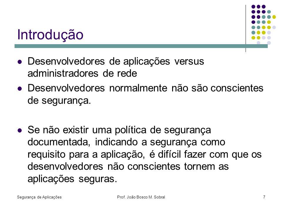 Segurança de AplicaçõesProf. João Bosco M. Sobral7 Introdução Desenvolvedores de aplicações versus administradores de rede Desenvolvedores normalmente