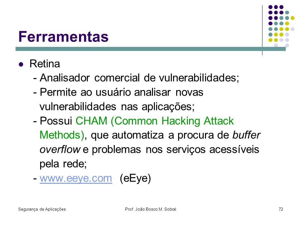Segurança de AplicaçõesProf. João Bosco M. Sobral72 Ferramentas Retina - Analisador comercial de vulnerabilidades; - Permite ao usuário analisar novas