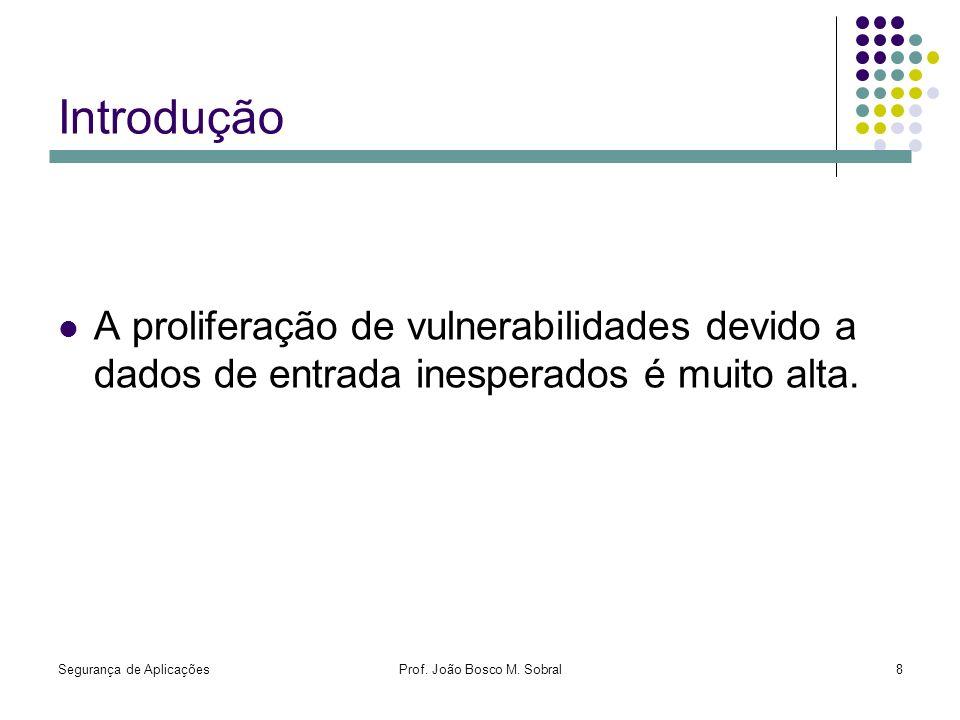 Segurança de AplicaçõesProf. João Bosco M. Sobral8 Introdução A proliferação de vulnerabilidades devido a dados de entrada inesperados é muito alta.