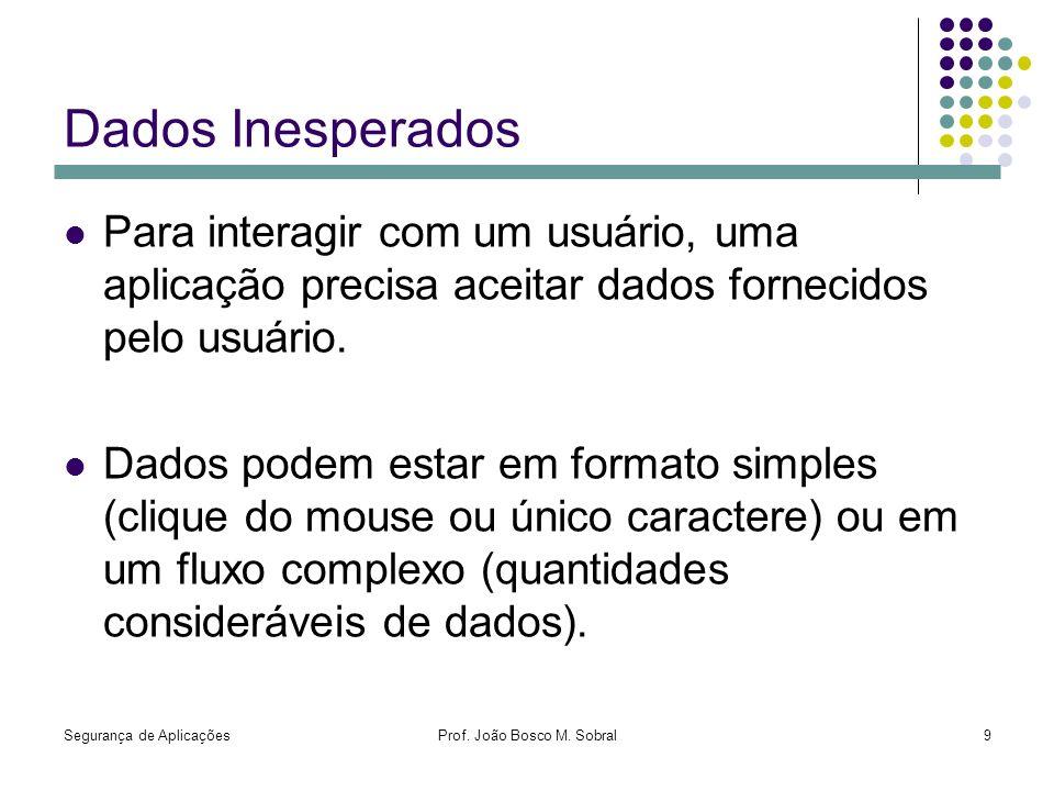 Segurança de AplicaçõesProf. João Bosco M. Sobral9 Dados Inesperados Para interagir com um usuário, uma aplicação precisa aceitar dados fornecidos pel