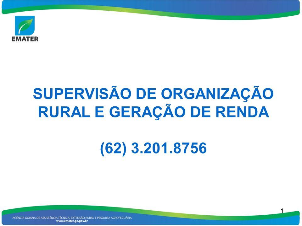 1 SUPERVISÃO DE ORGANIZAÇÃO RURAL E GERAÇÃO DE RENDA (62) 3.201.8756