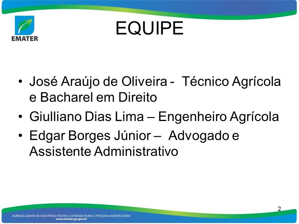 EQUIPE José Araújo de Oliveira - Técnico Agrícola e Bacharel em Direito Giulliano Dias Lima – Engenheiro Agrícola Edgar Borges Júnior – Advogado e Ass