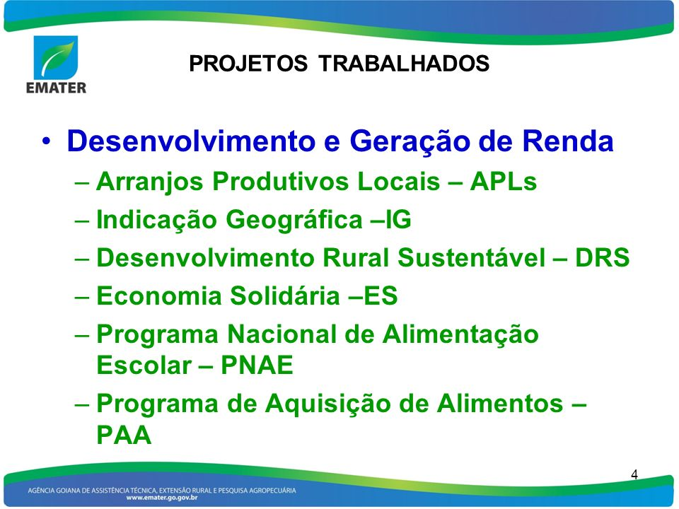 PROJETOS TRABALHADOS Desenvolvimento e Geração de Renda –Arranjos Produtivos Locais – APLs –Indicação Geográfica –IG –Desenvolvimento Rural Sustentáve