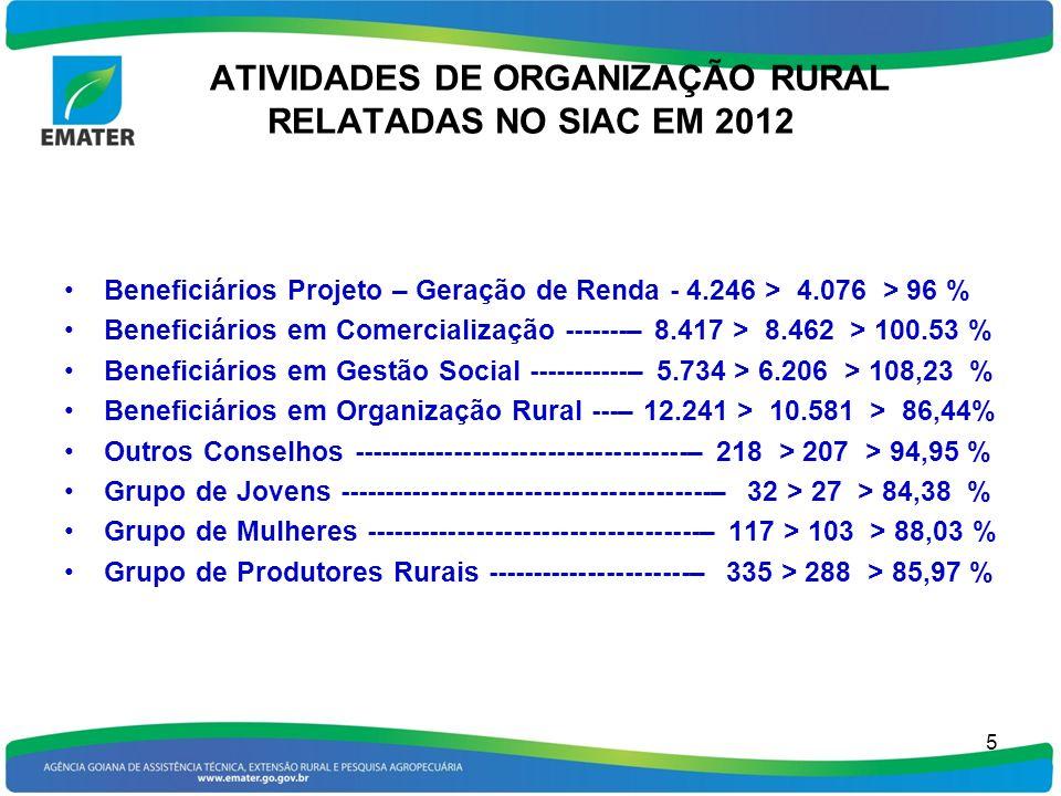 ATIVIDADES DE ORGANIZAÇÃO RURAL RELATADAS NO SIAC EM 2012 Beneficiários Projeto – Geração de Renda - 4.246 > 4.076 > 96 % Beneficiários em Comercializ
