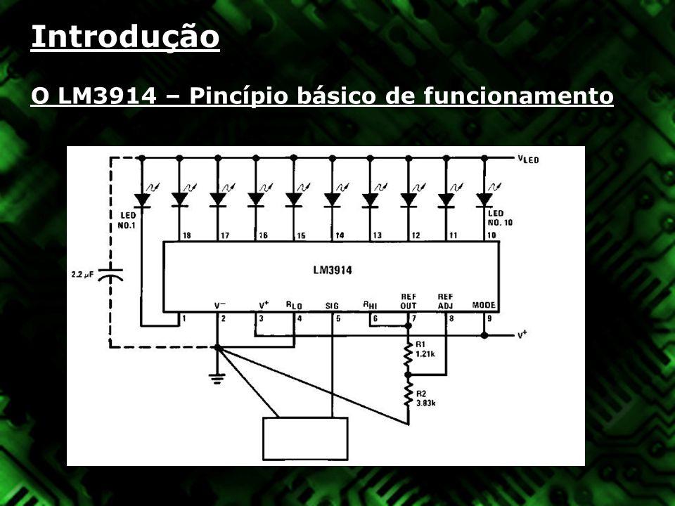 Introdução O LM3914 – Adaptação para o nosso problema Configuração » Para configurar a máxima tensão de monitoramento, aplicamos a tensão desejada nos terminais, e então ajustamos o trimmer potenciômetro de 10k até que todos o LED s se acendam; » Para configurar a menor tensão, aplicamos o V min nos terminais de entrada, e então ajustamos o resistor do pino 4 para um valor até que o primeiro LED se acenda; » O capacitor evita variações bruscas de tensão; » O brilho dos led s pode ser ajustado variando o valor do resistor de 4K7; » A saída indicada pelos LEDs pode ser configurada em DOT MODE ou BAR MODE através do pino 9;