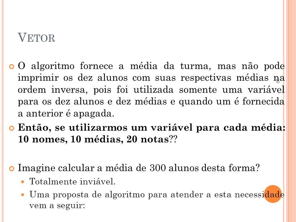 V ETOR O algoritmo fornece a média da turma, mas não pode imprimir os dez alunos com suas respectivas médias na ordem inversa, pois foi utilizada some