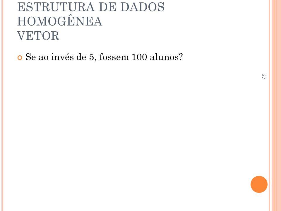 ESTRUTURA DE DADOS HOMOGÊNEA VETOR Se ao invés de 5, fossem 100 alunos? 27