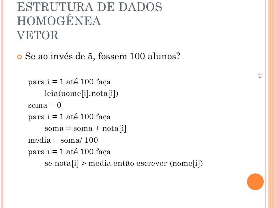 ESTRUTURA DE DADOS HOMOGÊNEA VETOR Se ao invés de 5, fossem 100 alunos? para i = 1 até 100 faça leia(nome[i],nota[i]) soma = 0 para i = 1 até 100 faça