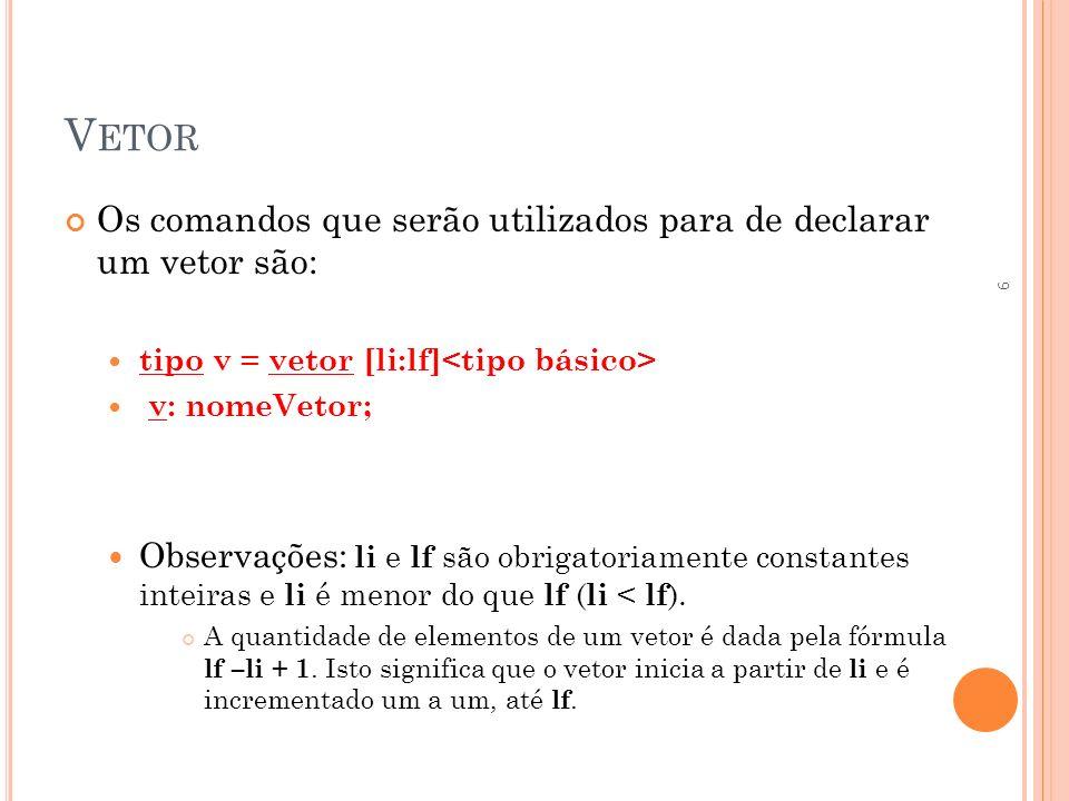 V ETOR Os comandos que serão utilizados para de declarar um vetor são: tipo v = vetor [li:lf] v: nomeVetor; Observações: li e lf são obrigatoriamente