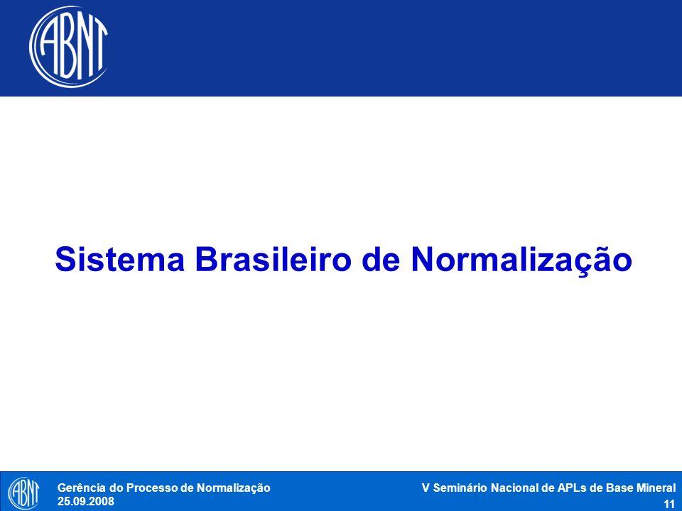 V Seminário Nacional de APLs de Base Mineral 11 Gerência do Processo de Normalização 25.09.2008 Sistema Brasileiro de Normalização