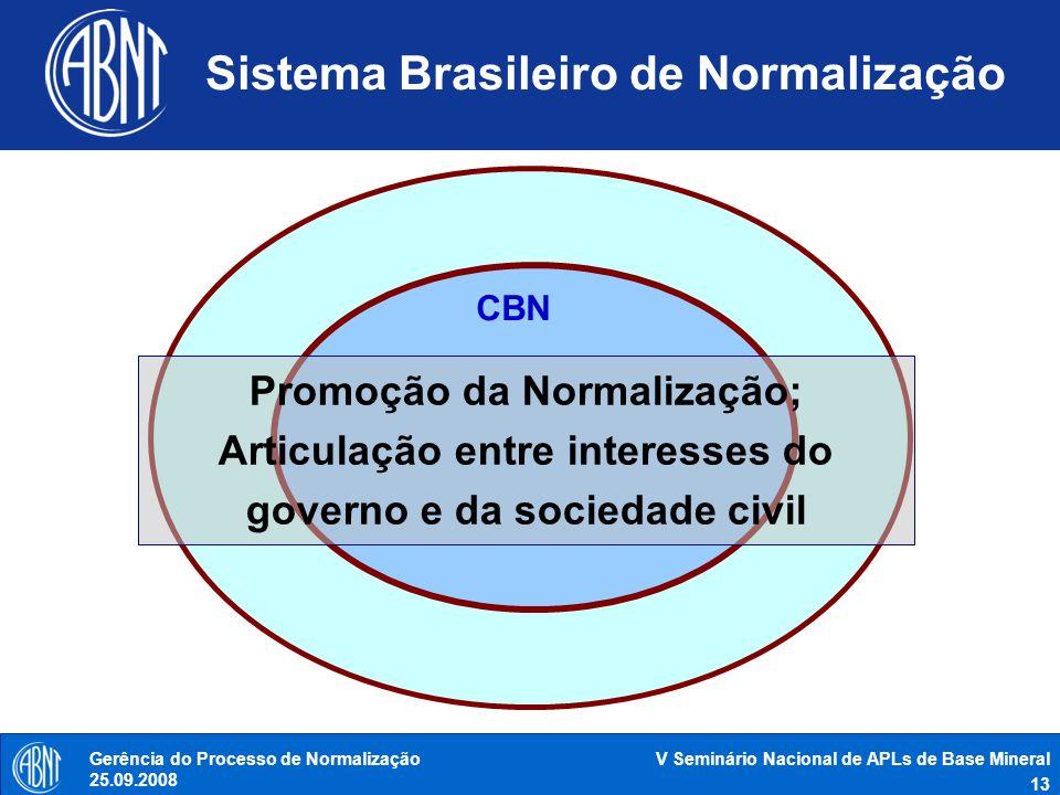 V Seminário Nacional de APLs de Base Mineral 13 Gerência do Processo de Normalização 25.09.2008 Sistema Brasileiro de Normalização CBN Promoção da Nor