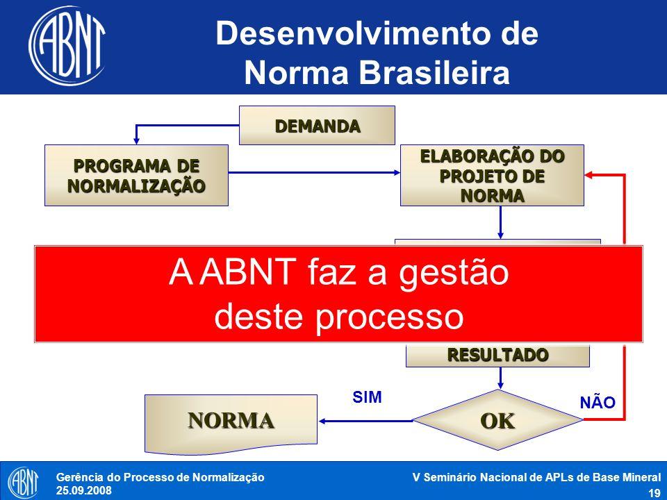V Seminário Nacional de APLs de Base Mineral 19 Gerência do Processo de Normalização 25.09.2008 PROGRAMA DE NORMALIZAÇÃO CONSULTA NACIONAL DEMANDA ELA