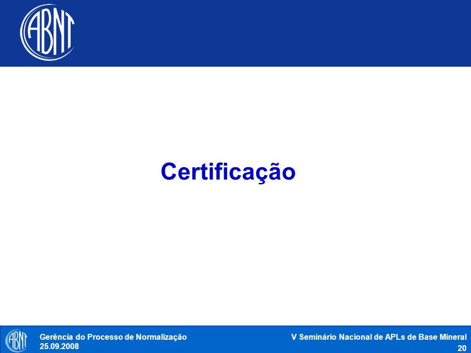 V Seminário Nacional de APLs de Base Mineral 20 Gerência do Processo de Normalização 25.09.2008 Certificação