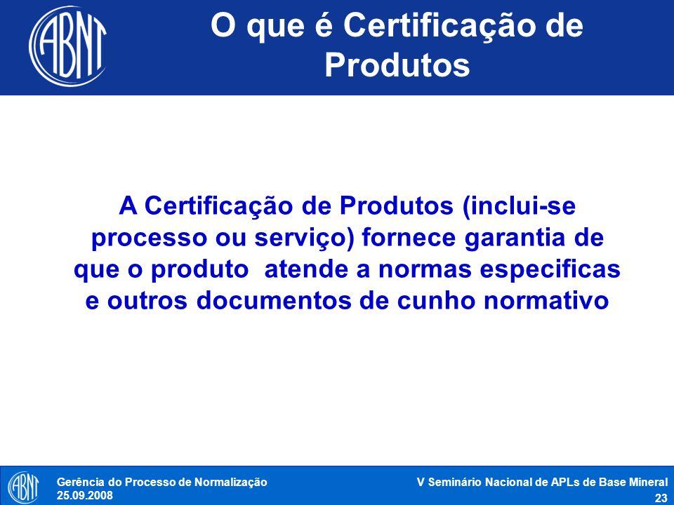 V Seminário Nacional de APLs de Base Mineral 23 Gerência do Processo de Normalização 25.09.2008 O que é Certificação de Produtos A Certificação de Pro