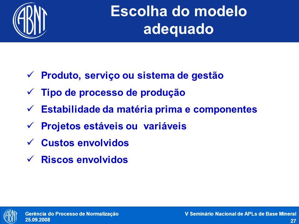 V Seminário Nacional de APLs de Base Mineral 27 Gerência do Processo de Normalização 25.09.2008 Escolha do modelo adequado Produto, serviço ou sistema