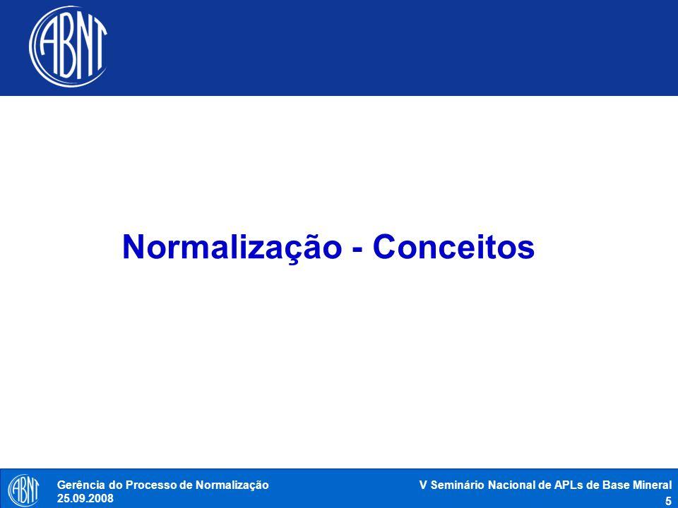 V Seminário Nacional de APLs de Base Mineral 16 Gerência do Processo de Normalização 25.09.2008 Sistema Brasileiro de Normalização ABNT REGULAMENTOS TÉCNICOS NORMAS BRASILEIRAS CONMETRO CBN ÓRGÃOS REGULAMENTADORES