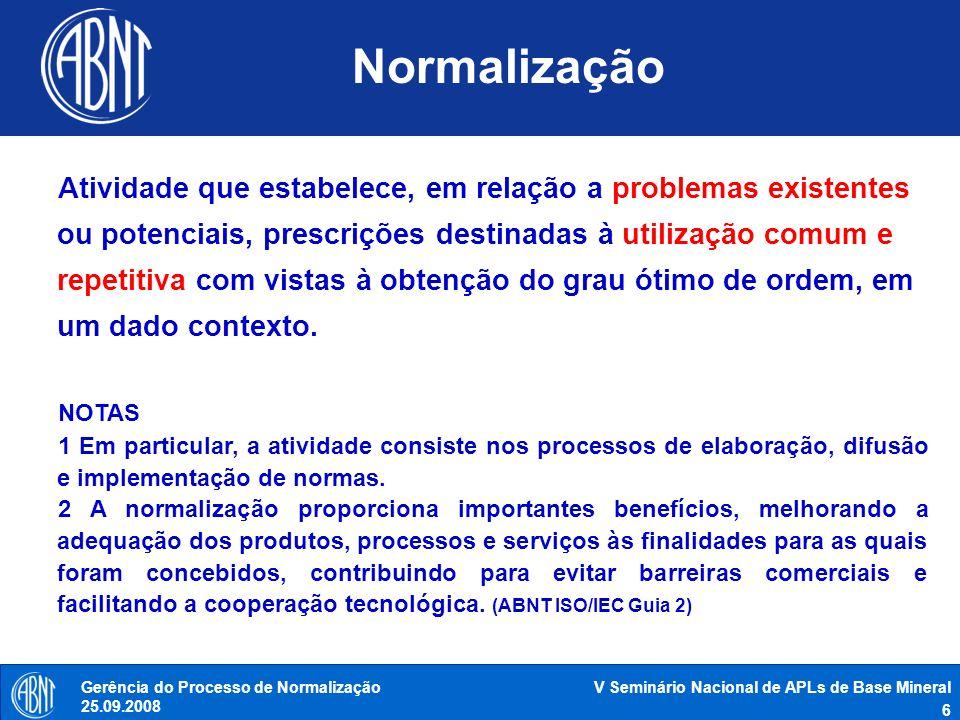 V Seminário Nacional de APLs de Base Mineral 7 Gerência do Processo de Normalização 25.09.2008 Princípios da normalização SIMPLIFICAÇÃO TRANSPARÊNCIA REPRESENTATIVIDADE ATUALIZAÇÃO VOLUNTARIEDADE PARIDADE CONSENSO