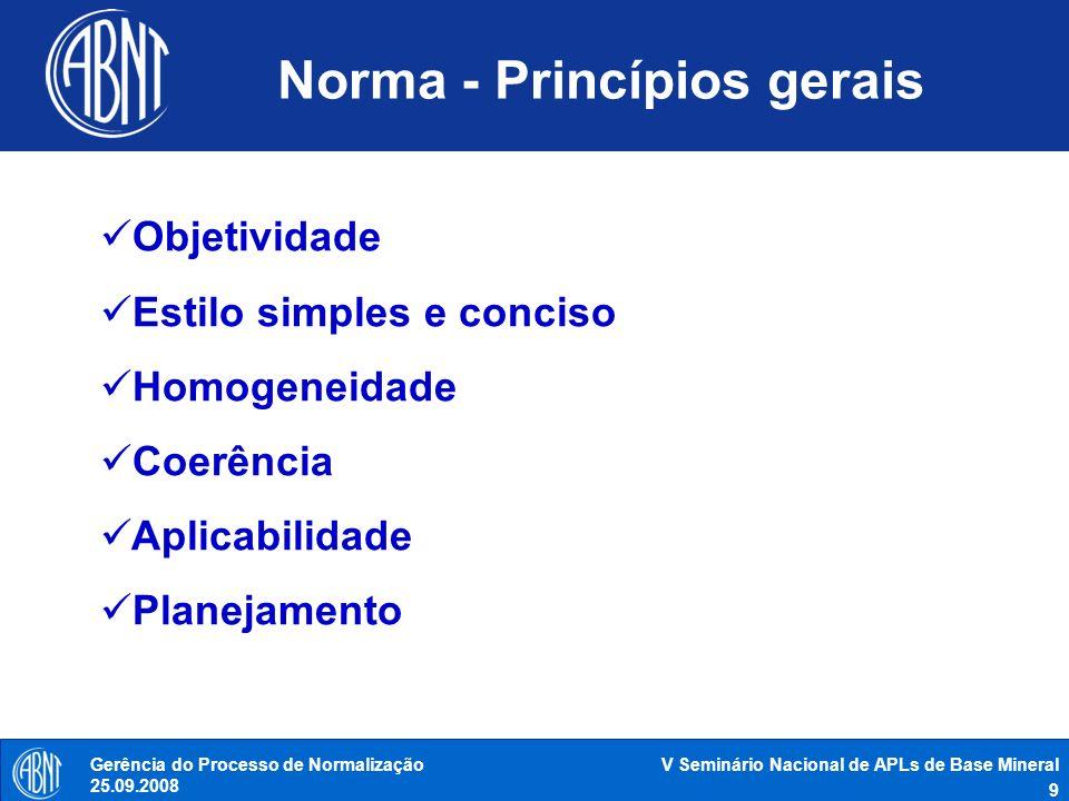V Seminário Nacional de APLs de Base Mineral 9 Gerência do Processo de Normalização 25.09.2008 Norma - Princípios gerais Objetividade Estilo simples e
