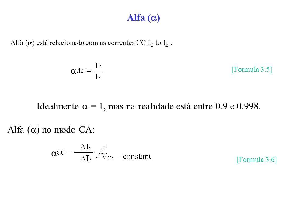 Alfa ( ) Idealmente = 1, mas na realidade está entre 0.9 e 0.998. Alfa ( ) no modo CA: Alfa ( ) está relacionado com as correntes CC I C to I E : [For