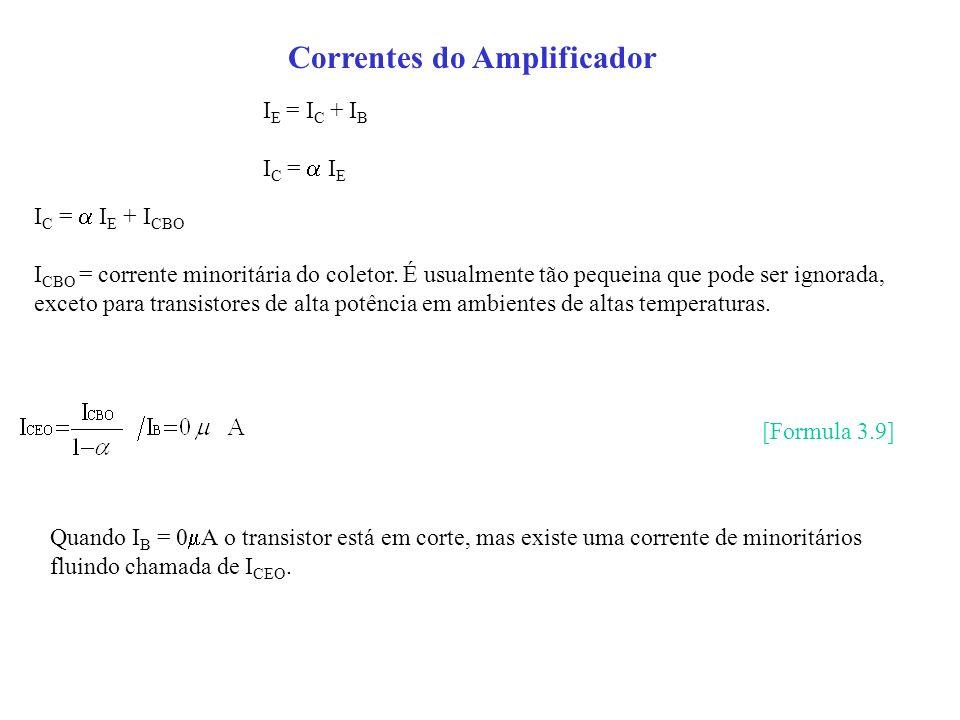 Correntes do Amplificador I E = I C + I B I C = I E I C = I E + I CBO I CBO = corrente minoritária do coletor. É usualmente tão pequeina que pode ser