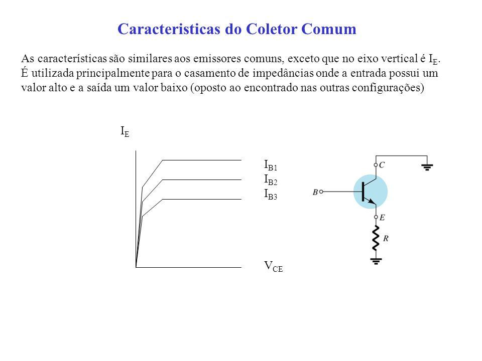 Caracteristicas do Coletor Comum As características são similares aos emissores comuns, exceto que no eixo vertical é I E. É utilizada principalmente