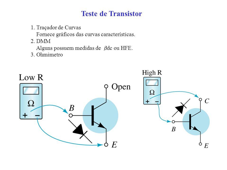Teste de Transistor 1. Traçador de Curvas Fornece gráficos das curvas características. 2. DMM Alguns possuem medidas de dc ou HFE. 3. Ohmimetro