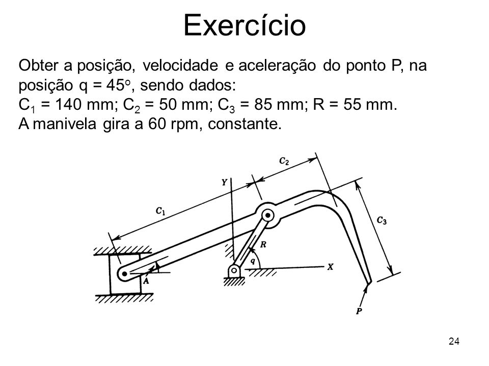 24 Exercício Obter a posição, velocidade e aceleração do ponto P, na posição q = 45 o, sendo dados: C 1 = 140 mm; C 2 = 50 mm; C 3 = 85 mm; R = 55 mm.