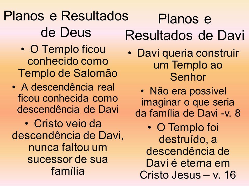 Planos e Resultados de Deus O Templo ficou conhecido como Templo de Salomão A descendência real ficou conhecida como descendência de Davi Cristo veio