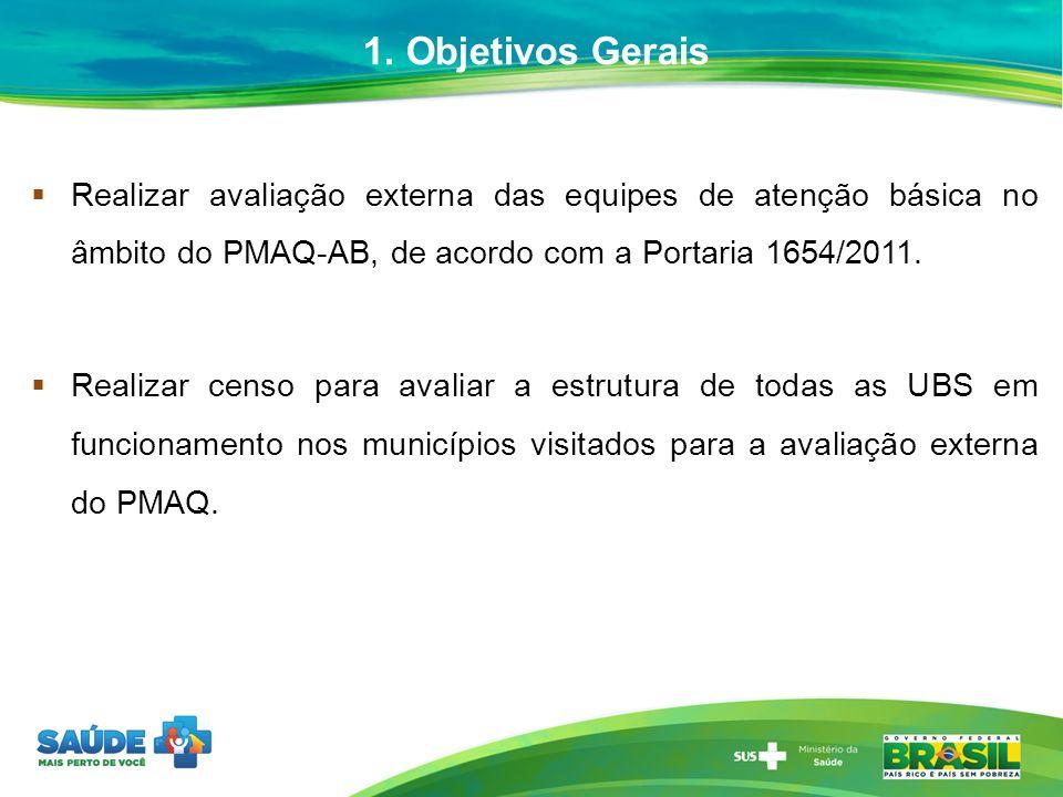 1. Objetivos Gerais Realizar avaliação externa das equipes de atenção básica no âmbito do PMAQ-AB, de acordo com a Portaria 1654/2011. Realizar censo
