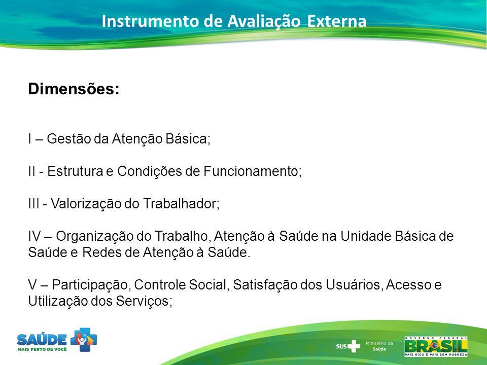 Instrumento de Avaliação Externa 5 Dimensões: I – Gestão da Atenção Básica; II - Estrutura e Condições de Funcionamento; III - Valorização do Trabalha