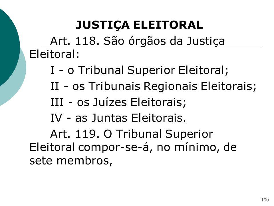 JUSTIÇA ELEITORAL Art. 118. São órgãos da Justiça Eleitoral: I - o Tribunal Superior Eleitoral; II - os Tribunais Regionais Eleitorais; III - os Juíze