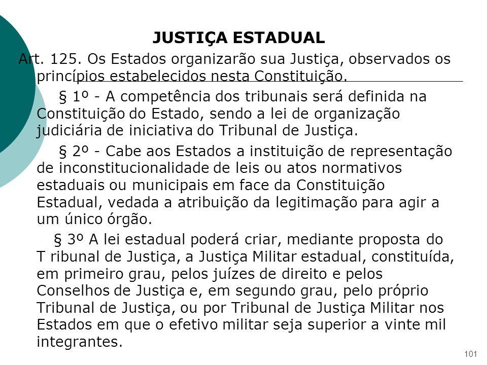 JUSTIÇA ESTADUAL Art. 125. Os Estados organizarão sua Justiça, observados os princípios estabelecidos nesta Constituição. § 1º - A competência dos tri