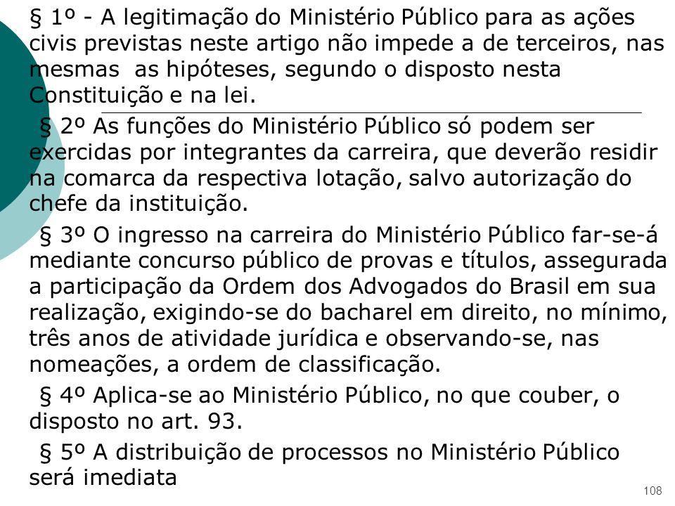 § 1º - A legitimação do Ministério Público para as ações civis previstas neste artigo não impede a de terceiros, nas mesmas as hipóteses, segundo o di