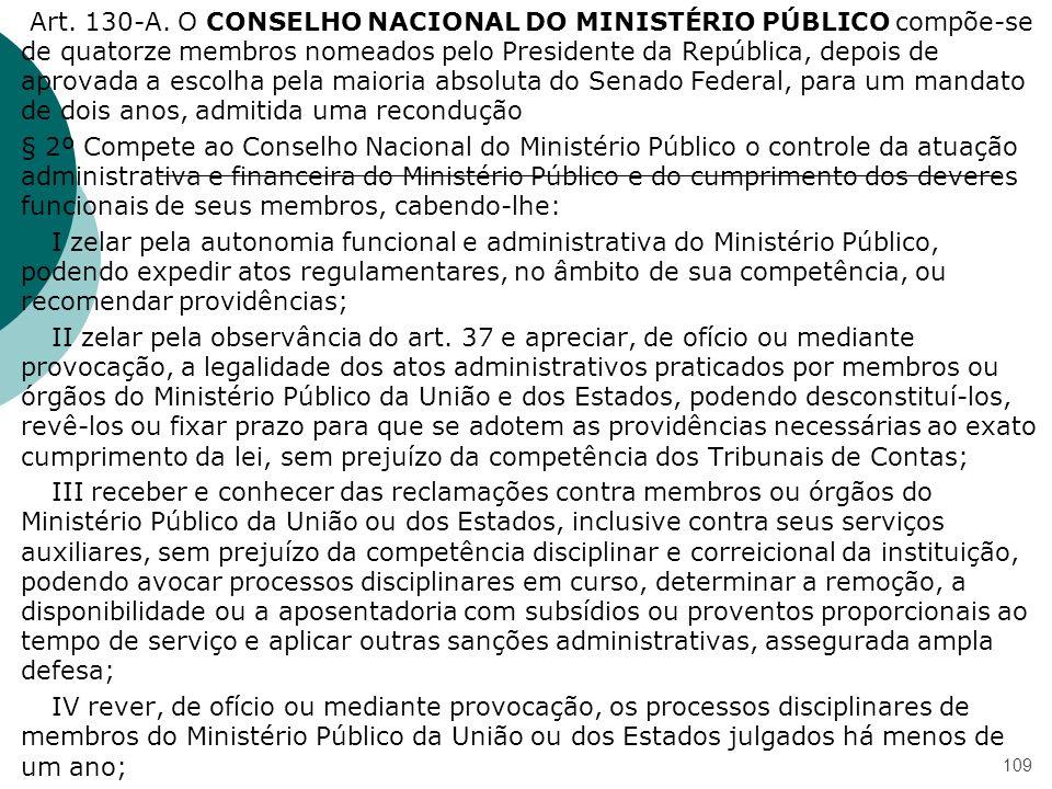 Art. 130-A. O CONSELHO NACIONAL DO MINISTÉRIO PÚBLICO compõe-se de quatorze membros nomeados pelo Presidente da República, depois de aprovada a escolh