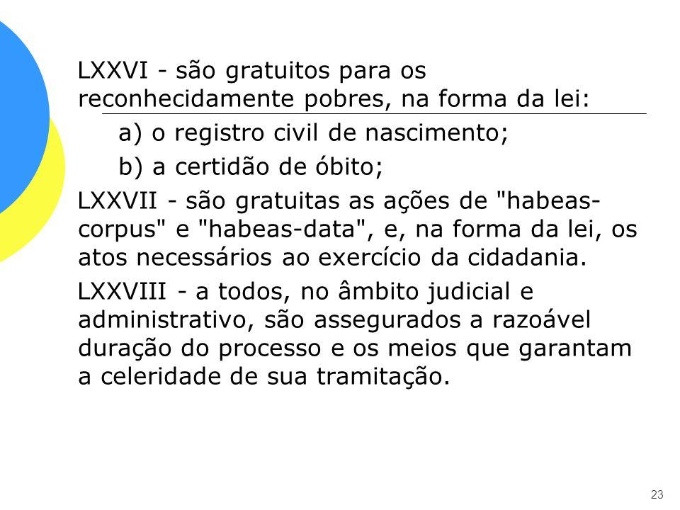 LXXVI - são gratuitos para os reconhecidamente pobres, na forma da lei: a) o registro civil de nascimento; b) a certidão de óbito; LXXVII - são gratui