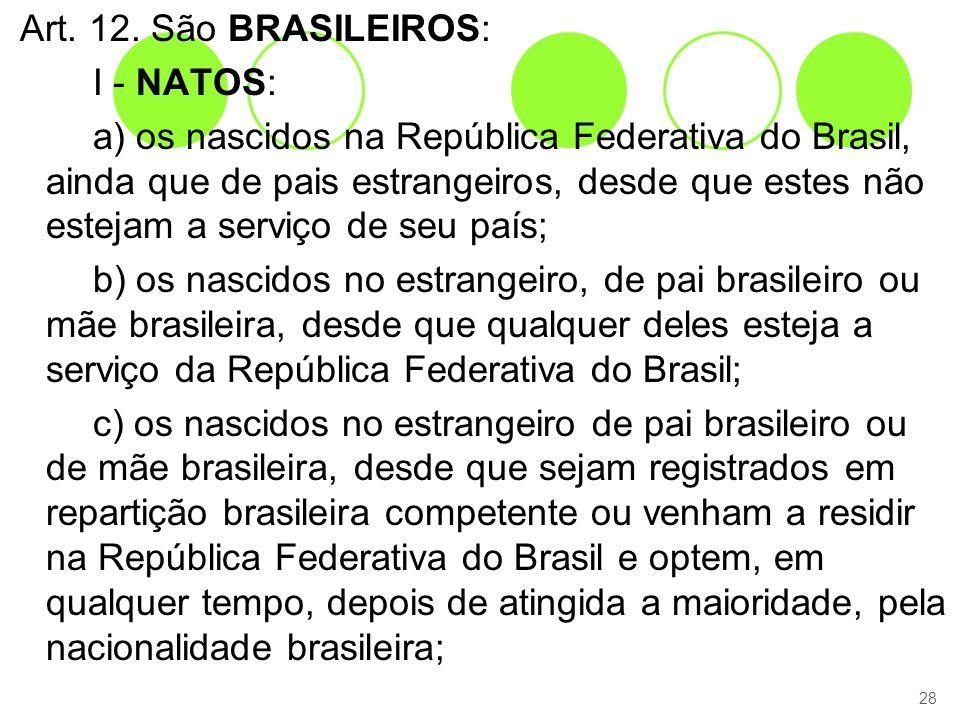 Art. 12. São BRASILEIROS: I - NATOS: a) os nascidos na República Federativa do Brasil, ainda que de pais estrangeiros, desde que estes não estejam a s