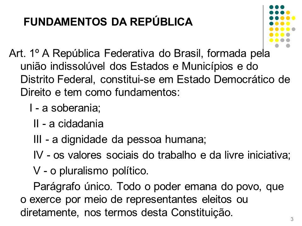 FUNDAMENTOS DA REPÚBLICA Art. 1º A República Federativa do Brasil, formada pela união indissolúvel dos Estados e Municípios e do Distrito Federal, con
